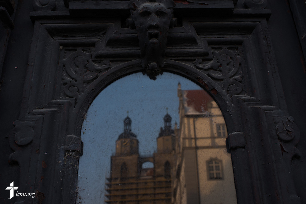 A view of the Stadtkirche as seen from a window reflection on Thursday, Jan. 30, 2014, in Wittenberg, Germany. LCMS Communications/Erik M. Lunsford