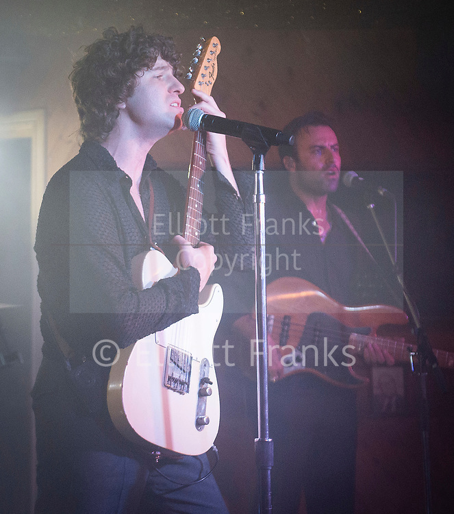 The Kooks <br /> Performing live at The Moth Club, Hackney, London, Great Britain <br /> 5th September 2018<br /> <br /> Luke Pritchard (vocals/rhythm guitar), <br /> Hugh Harris (lead guitar/synthesizer), <br /> Alexis Nunez (drums), and Peter Denton (bass guitar).<br /> <br /> Photograph by Elliott Franks