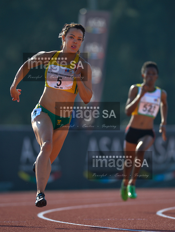 DURBAN, SOUTH AFRICA - JUNE 25: Alyssa Conley of South Africa in the heats of the women's 200m during the morning session on day 4 of the CAA 20th African Senior Championships at Kings Park Athletic stadium on June 25, 2016 in Durban, South Africa. (Photo by Roger Sedres/Gallo Images)