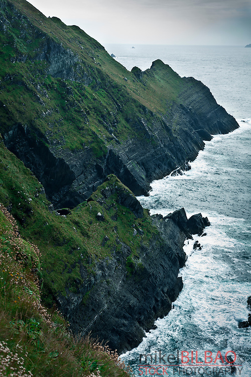 coastal cliffs in the Skellig ring, Iveragh Peninsula. County Kerry, Ireland