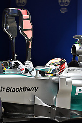 19.04.2014, International Circuit, Shanghai, CHN, FIA, Formel 1, Grand Prix von China, Qualifying Tag, im Bild Pole sitter Lewis Hamilton (GBR) Mercedes AMG F1 W05 in parc ferme. // during the Qualifyingday of Chinese Formula One Grand Prix at the International Circuit in Shanghai, China on 2014/04/19. EXPA Pictures © 2014, PhotoCredit: EXPA/ Sutton Images<br /> <br /> *****ATTENTION - for AUT, SLO, CRO, SRB, BIH, MAZ only*****