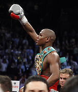 K.M. CANNON/REVIEW-JOURNAL.Floyd Mayweather of Las Vegas celebrates his knockout victory over Ricky Hatton of Britain in their WBC World Welterweight Championship bout at the MGM Grand Garden Arena Saturday, Dec. 8, 2007...