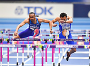 Aries Merritt (USA) rises at a hurdle in his Semi Final of the Men's 60m Hurdles in a time of 7.60 during the final session of the IAAF World Indoor Championships at Arena Birmingham in Birmingham, United Kingdom on Saturday, Mar 2, 2018. (Steve Flynn/Image of Sport)