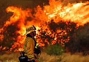 June 20, 2016 - Duarte, California, U.S. - Lakeside firefighter JOE VASQUEZ watches large flames burn next to a home on Highway 94 south of Potrero on Monday.<br /> ©Exclusivepix Media