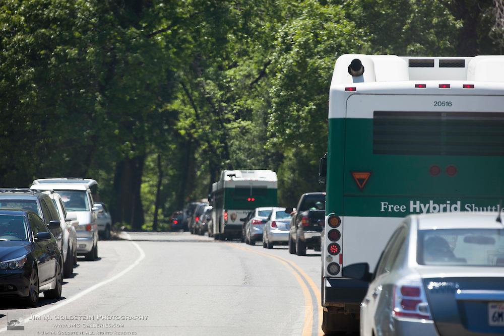 Heavy traffic congestion on Yosemite Valley Loop Road along Cook's Meadow - Yosemite National Park, California