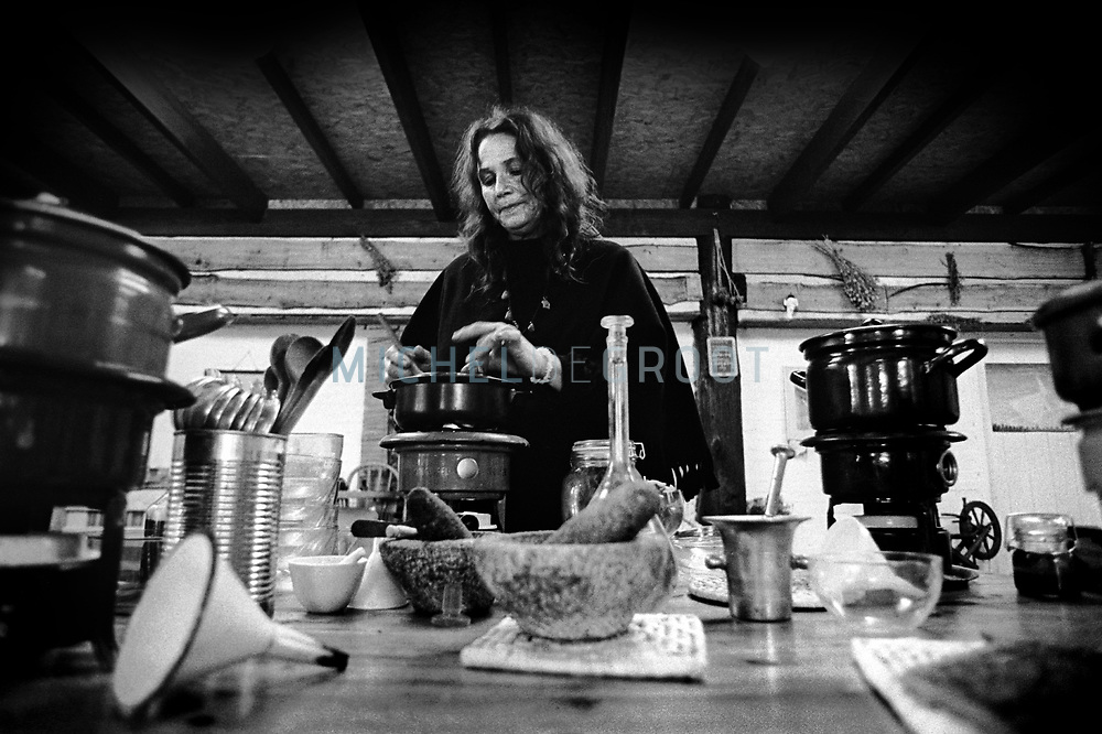 WITCHES --Witch Margarita van Rongen producing herbal mixtures-- APRIL 26, 2001  (Photo by Michel de Groot)