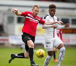 WRONG NAME THIS IS THE RIGHT NAME Dunfermline's Andy Geggan and Falkirk's Nathan Austin. Dunfermline 1 v 2 Falkirk, Scottish Championship game played 22/4/2017 at Dunfermline's home ground, East End Park.