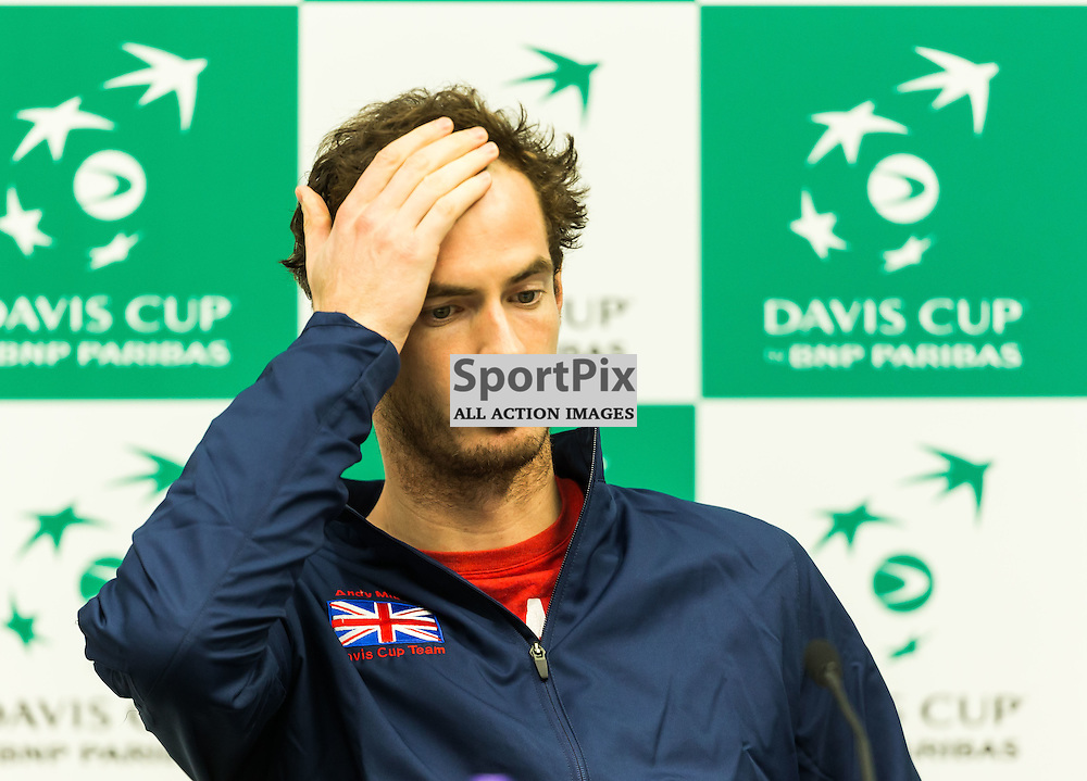 Andy Murray talks during the press conference after winning the Davis Cup Semi-final between Great Britian and Australia (c) ROSS EAGLESHAM | Sportpix.co.uk