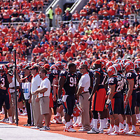 The Fighting Illini on the sidelines at  Memorial Stadium, Champaign, Illinois, September 15, 2012. George Strohl/AI Wire.