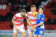 Ian Henderson, Andy Butler, Harry Middleton during the Sky Bet League 1 match between Doncaster Rovers and Rochdale at the Keepmoat Stadium, Doncaster, England on 21 November 2015. Photo by Daniel Youngs.