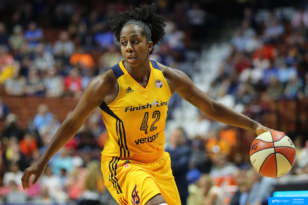 UNCASVILLE, CONNECTICUT- JUNE 5:   Shenise Johnson #42 of the Indiana Fever in action during the Indiana Fever Vs Connecticut Sun, WNBA regular season game at Mohegan Sun Arena on June 3, 2016 in Uncasville, Connecticut. (Photo by Tim Clayton/Corbis via Getty Images)