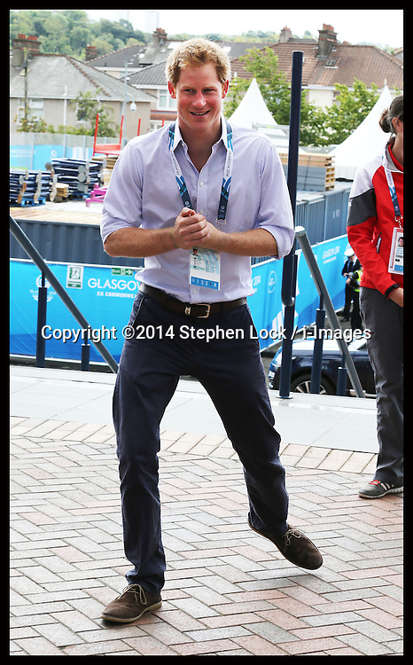Image licensed to i-Images Picture Agency. 29/07/2014. Glasgow, United Kingdom.  Prince Harry arriving at Hampden Park, Glasgow along with the Duke of Cambridge to watch the Athletics competition  on day six of the Commonwealth Games.  Picture by Stephen Lock / i-Images