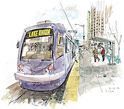 South Lake Union Streetcar in Seattle stops for passengers.<br />
