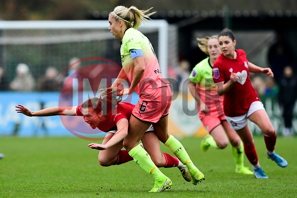 Steph Houghton of Manchester City Women challenges Charlie Wellings of Bristol City - Mandatory by-line: Ryan Hiscott/JMP - 24/11/2019 - FOOTBALL - Stoke Gifford Stadium - Bristol, England - Bristol City Women v Manchester City Women - Barclays FA Women's Super League