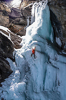 Jeff Mercier, a professional alpine climber as seen during a rapid night ascent of Cascate di Lillaz icefall.