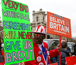 "© Licensed to London News Pictures. 20/03/2019. London, UK. Pro-Brexit demonstrators with large placards protest outside the Houses of Parliament. According to No 10 Downing Street, later today British Prime Minister Theresa May will write to European Union chiefs requesting a ""short"" delay to the date Britain leaves the EU. Photo credit: Dinendra Haria/LNP"
