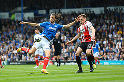 Christian Burgess of Portsmouth attempts a shot on goal - Mandatory by-line: Jason Brown/JMP - 06/05/2017 - FOOTBALL - Fratton Park - Portsmouth, England - Portsmouth v Cheltenham Town - Sky Bet League Two