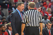 LUBBOCK, TX - JANUARY 13: Head coach Chris Beard of the Texas Tech Red Raiders discusses an officials call during the game against the West Virginia Mountaineers on January 13, 2018 at United Supermarket Arena in Lubbock, Texas. Texas Tech defeated West Virginia 72-71. (Photo by John Weast/Getty Images) *** Local Caption *** Chris Beard