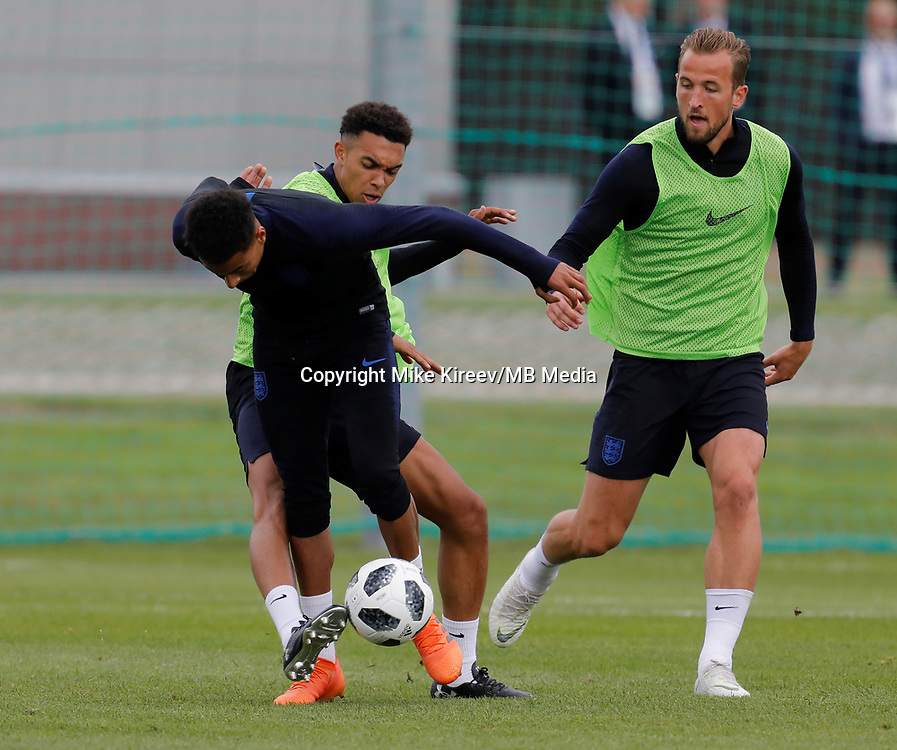 SAINT PETERSBURG, RUSSIA - JUNE 13: (L to R) Jesse Lingard, Trent Alexander-Arnold and Harry Kane of England national team during an England national team training session ahead of the FIFA World Cup 2018 in Russia at Stadium Spartak Zelenogorsk on June 13, 2018 in Saint Petersburg, Russia.