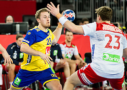 Albin Lagergren of Sweden during handball match between National teams of Sweden and Norway on Day 7 in Main Round of Men's EHF EURO 2018, on January 24, 2018 in Arena Zagreb, Zagreb, Croatia.  Photo by Vid Ponikvar / Sportida