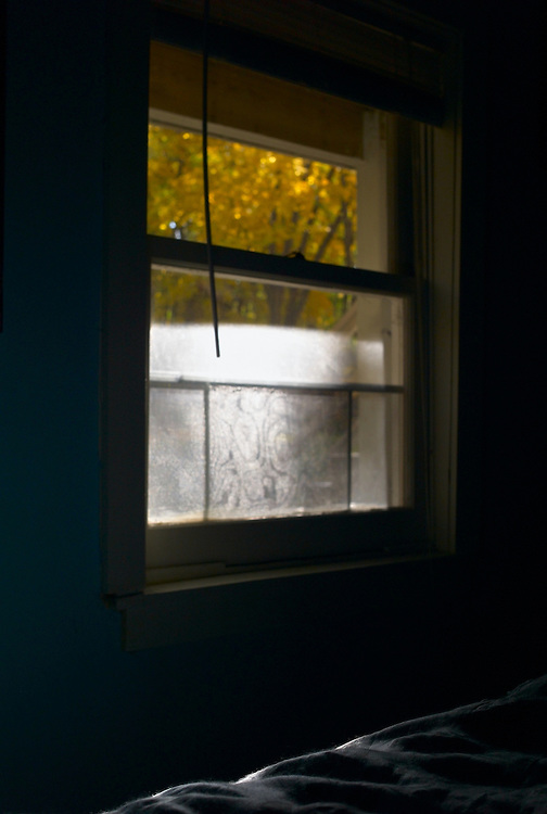 Sunlight shining on window in empty, dark bedroom with blue bedspread