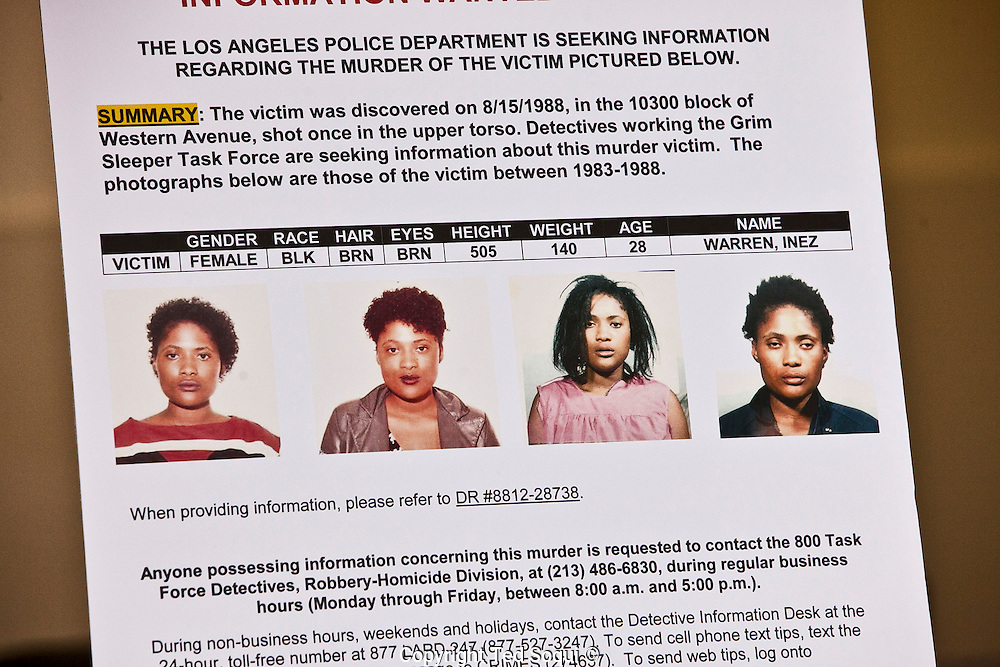 Image of Inez Warren who may be a victim of the &quot;Grim Sleeper.&quot;<br /> LAPD Robbery-Homicide detectives hold a press conference to provide new information regarding the &quot;Grim Sleeper&quot; serial murder case. <br /> 8 new photos of potential victims of the &quot;Grim Sleeper&quot; were identified and displayed, along with 55 other images of unidentified missing women.<br /> The LAPD is still asking for the public's help in seeking the identities of the missing women.<br /> The photos were found inside Lonnie Franklin's, the &quot;Grim Sleeper&quot; suspect, home. Franklin remains in police custody, and his trial has not yet started.