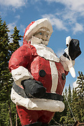 The worlds largest Santa Claus statue at the Santa Claus House in North Pole, Alaska. The 42-foot statue weighs 900 pounds and was originally built in the 1960s and originally served as a seasonal display at the Westlake Mall in Seattle before being relocated to North Pole.