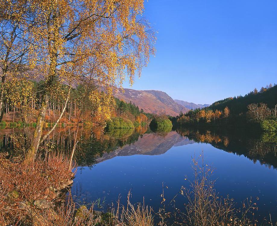 Autumn falls on the Lochan Trail, Glencoe, west Highlands.