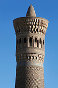 Kalyan Minaret, 12th century, Bukhara, Uzbekistan, pictured on July 11, 2010 in the afternoon. The baked brick  minaret, commissioned by Arslan Khan and designed by Bako, is 48 metres high and its diametre is 9 metres at the bottom and 6 metres at the top. Bukhara, a city on the Silk Route is about 2500 years old. Its long history is displayed both through the impressive monuments and the overall town planning and architecture. Picture by Manuel Cohen.