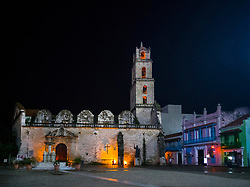 Old Havana, Cuba. Havana vieja, street. San Francisco plaza. Basilica Menor de San Francisco de Asis.
