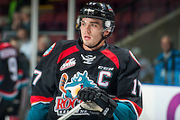 KELOWNA, CANADA - SEPTEMBER 28: Rodney Southam #17 of Kelowna Rockets warms up against the Prince George Cougars on September 28, 2016 at Prospera Place in Kelowna, British Columbia, Canada.  (Photo by Marissa Baecker/Shoot the Breeze)  *** Local Caption *** Rodney Southam;