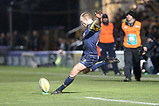 Jono Lance conversion attempt during the Aviva Premiership match between Worcester Warriors and Sale Sharks at Sixways Stadium, Worcester, United Kingdom on 1 December 2017. Photo by Daniel Youngs.