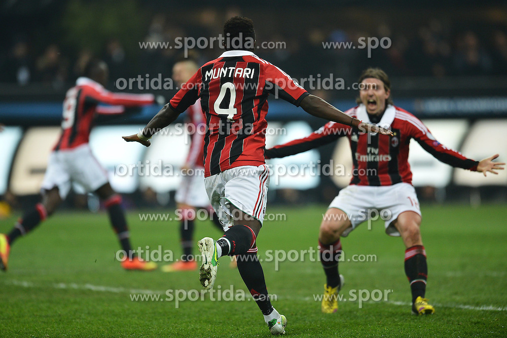 20.02.2013, Stadio Giuseppe Meazza, Mailand, ITA, UEFA Champions League, AC Mailand vs FC Barcelona, Achtelfinale Hinspiel, im Bild Esultanza di Sulley Muntari Milan dopo il gol 2-0, Goal celebration // during the UEFA Champions League last sixteen first leg match between AC Milan and Barcelona FC at the Giuseppe Meazza Stadium, Milan, Italy on 2013/02/20. EXPA Pictures © 2013, PhotoCredit: EXPA/ Insidefoto/ Andrea Staccioli..***** ATTENTION - for AUT, SLO, CRO, SRB, BIH and SWE only *****