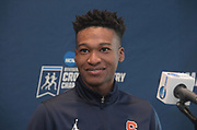 Justyn Knight of Syracuse reacts during a press conference prior to the NCAA cross country championships at the Sawyer Hayes Community Center in Louisville, Ky. on Friday, Nov. 17, 2017.