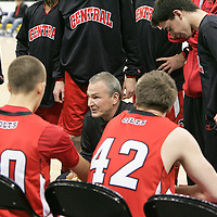 Parkway Central Head Coach Todd Pannett gives his team the strategy before the start of the game