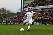 Pádraig Amond (9) scores from the penalty spot during the EFL Sky Bet League 2 second leg Play Off match between Mansfield Town and Newport County at the One Call Stadium, Mansfield, England on 12 May 2019.
