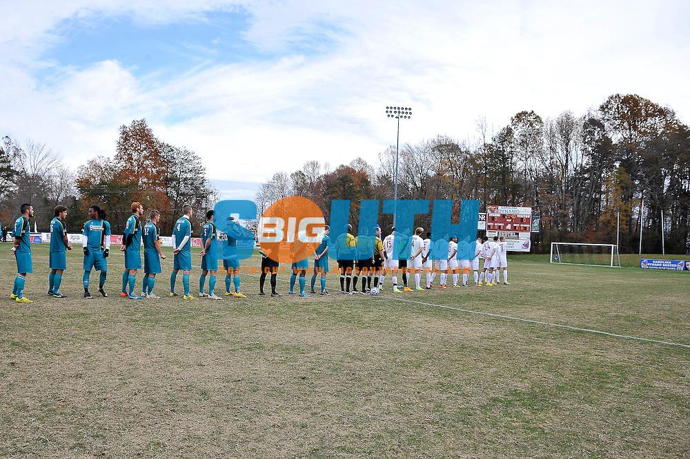 16 November 2014: The Big South Conference hosted their 2014 Final of men's soccer championship, Thursday at Bryan Park in Greensboro, North Carolina.  Radford vs. Coastal Carolina. Credit: Todd Drexler/BigSouthPhotos.com