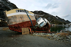 NORWAY LOFOTEN 29MAR07 - Wreck of a fishing boat in Sørvågen on the Lofoten islands...jre/Photo by Jiri Rezac..© Jiri Rezac 2007..Contact: +44 (0) 7050 110 417.Mobile:  +44 (0) 7801 337 683.Office:  +44 (0) 20 8968 9635..Email:   jiri@jirirezac.com.Web:    www.jirirezac.com..© All images Jiri Rezac 2007 - All rights reserved.