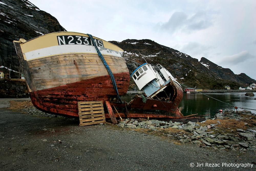 NORWAY LOFOTEN 29MAR07 - Wreck of a fishing boat in Sørvågen on the Lofoten islands...jre/Photo by Jiri Rezac..© Jiri Rezac 2007..Contact: +44 (0) 7050 110 417.Mobile:  +44 (0) 7801 337 683.Office:  +44 (0) 20 8968 9635..Email:   jiri@jirirezac.com.Web:    www.jirirezac.com..© All images Jiri Rezac 2007 - All rights reserved.