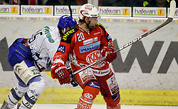 "13.03.2012, Stadthalle, Klagenfurt, AUT, EBEL, EC KAC vs KHL Medvescak Zagreb, Playoff, Halbfinale, 4. Spiel, im Bild Gal Koren (Zagreb) und Paul Schellander (KAC),  during the semifinal Match of ""Erste Bank Icehockey League"", fourth play between EC KAC and KHL Medvescak Zagreb at Stadthalle, Klagenfurt, Austria on 2012/03/13. EXPA Pictures © 2012, PhotoCredit: EXPA/ Oskar Hoeher."