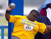 Norfolk State junior Theo Duncan places fourth in the Men's Shot Put with a throw of 15.54 meters at the 2011 MEAC Track and Field Championship held at North Carolina A&T in Greensboro, North Carolina.  (Photo by Mark W. Sutton)