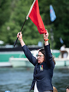Henley Royal Regatta, 3-7 July 2019. Guin BATTEN, Umpire, Henley Steward, raises the Red Flag, about to start a Race, Royal Henley Peace Regatta Centenary, 1919-2019. Henley on Thames.<br /> <br /> <br /> <br /> [Mandatory Credit: Patrick WHITE/Intersport Images], 5, 05/07/2019,  10:44:51