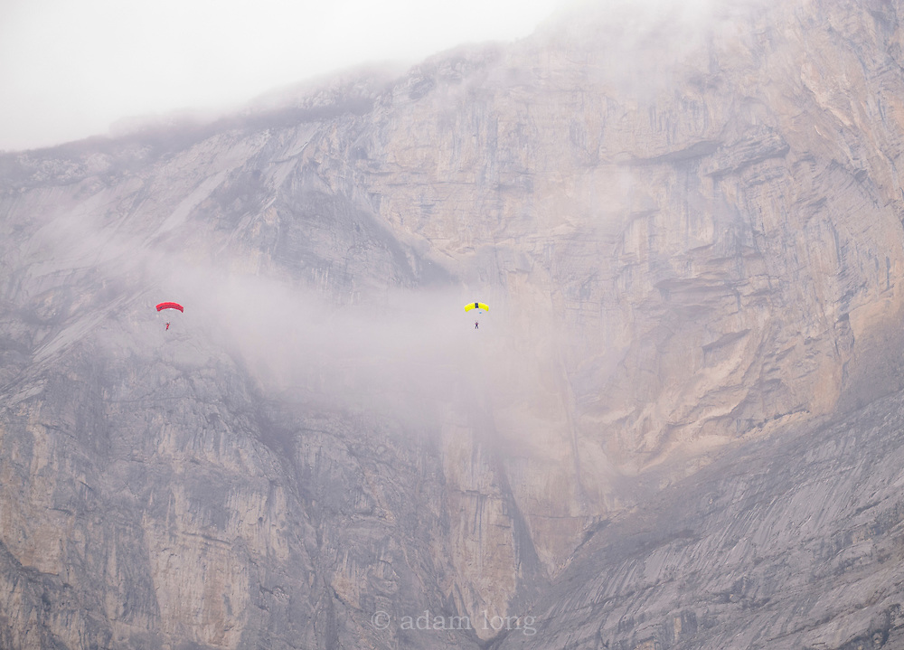 Leo Houlding and Tim Emmett BASE jumping off Monte Brento, Italy