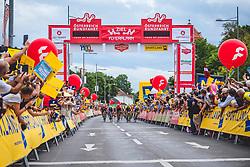 08.07.2019, Wiener Neustadt, AUT, Ö-Tour, Österreich Radrundfahrt, 2. Etappe, von Zwettl nach Wiener Neustadt (176,9 km), im Bild v.l. Daniel Auer (AUT, Maloja Pushbikers), August Jensen (NOR, Israel Cycling Academy), Jonas Koch (GER, CCC Team), Jannik Steimle (GER, Team Vorarlberg Santic), Emils Liepins (LAT, Wallonie-Bruxelles), Tom Devriendt (BEL, Wanty - Gobert Cycling Team) Etappensieger 2. Etappe // f.l. Daniel Auer of Austria (Maloja Pushbikers) August Jensen of Norway (Israel Cycling Academy) Jonas Koch of Germany (CCC Team) Jannik Steimle of Germany (Team Vorarlberg Santic) Emils Liepins of Latvia (Wallonie-Bruxelles) Tom Devriendt of Belgium (Wanty - Gobert Cycling Team) stage winner second stage during 2nd stage from Zwettl to Wiener Neustadt (176,9 km) of the 2019 Tour of Austria. Wiener Neustadt, Austria on 2019/07/08. EXPA Pictures © 2019, PhotoCredit: EXPA/ Reinhard Eisenbauer