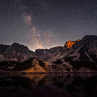 Milky way over a lake in the mountain