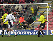 28/02/2004  -  Nationwide Div 1 Watford v Wimbledon.Rob Gier shot goes past Watfords keeper Lenny Pidgeley  onlt to go wide.