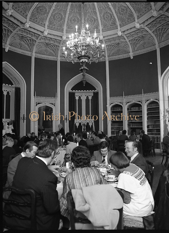 ESSO Teo Dinner Party At Slane.     (L61)<br /> 1978.<br /> 13.01.1978.<br /> 01.13.1978.<br /> 13th January 1978.<br /> At Slane Castle ESSO Teo held a dinner party for staff members .<br /> The images show a general view of the men and women enjoying their meal.Unfortunately we do not have the caption sheet to name all the individuals, if you have any information why not get in touch at irishphotoarchive.ie and we will gladly add the detail.