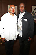 l to r: Antoine Pierce and Dwight Gooden at the Maxwell Press conference announcing his first new album in eight years, ' BLACKsummers'night,'  held at The Sony Club on April 28, 2009 in New York City