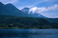 View of volcanoes from Lake Atitlan, Guatemala