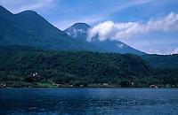 View of volcanoes from Lake Atitlan, Guatemala